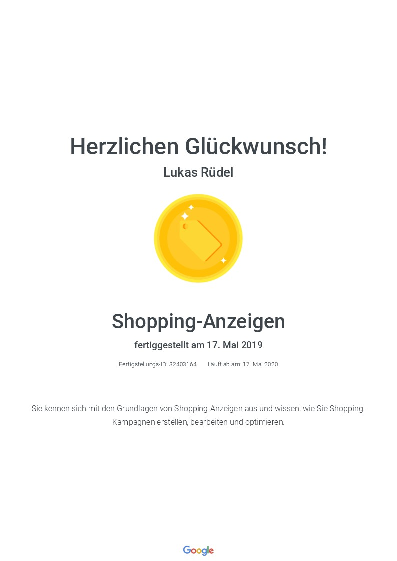 Google Shopping Zertifikat